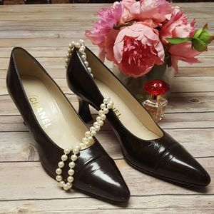 Vintage Patent Leather CHANEL Cap Toe Pumps